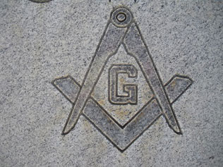 Marker with Masonic symbol